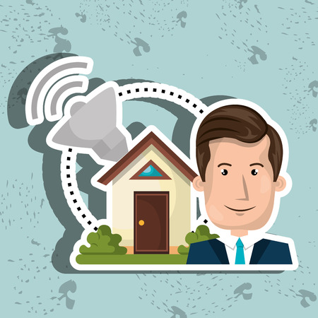 circuit sale: man house security protection vector illustration