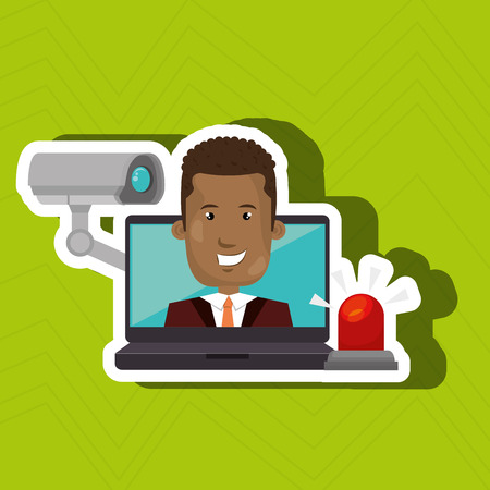 man with laptop: man laptop secutiry save vector illustration eps 10 Illustration