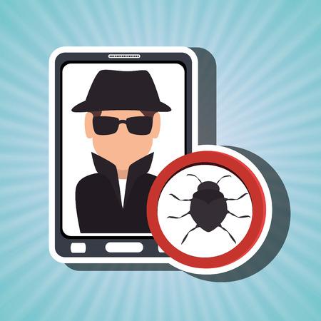 paranoia: man smartphone detective secure vector illustration eps 10