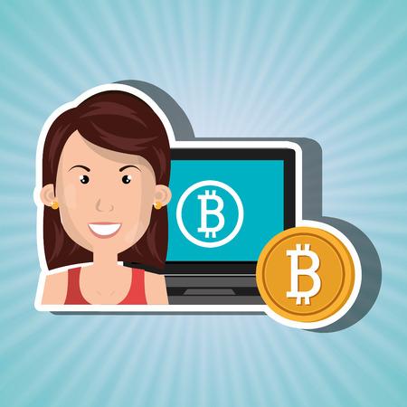 woman laptop: woman laptop bitcoin online vector illustration eps 10