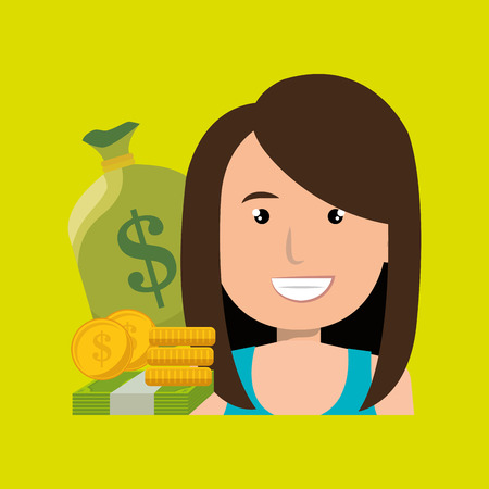 woman holding money: woman money cash coins vector illustration eps 10