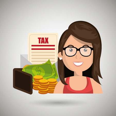 woman holding money: woman money currency tax vector illustration eps 10 Illustration