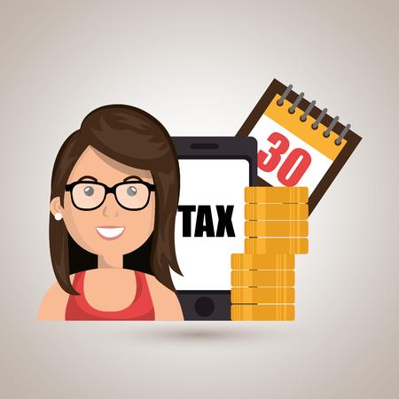 woman smartphone: woman smartphone tax money vector illustration