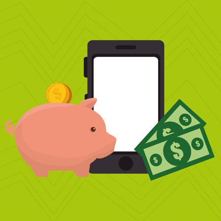 smartphone piggy taxes vector illustration