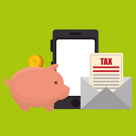 sms payment: smartphone piggy taxes vector illustration
