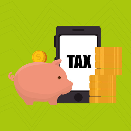 buy shares: smartphone piggy taxes vector illustration