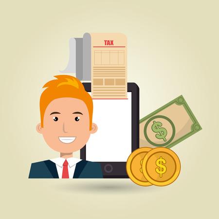 taxpayer: man smartphone taxes money vector illustration Illustration