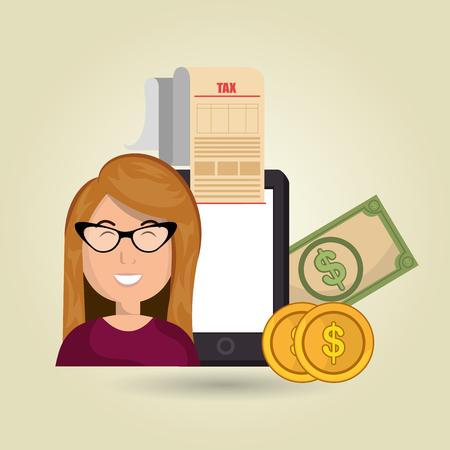 costs: woman smartphone taxes money vector illustration Illustration