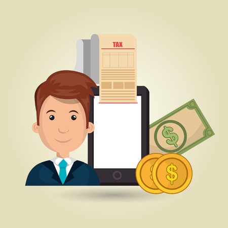 deduction: man smartphone taxes money vector illustration Illustration