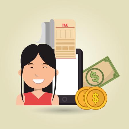 woman smartphone: woman smartphone taxes money vector illustration Illustration