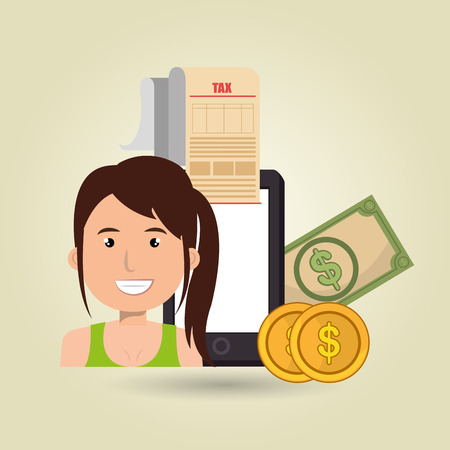 woman smartphone: woman smartphone taxes money vector illustration Illustration