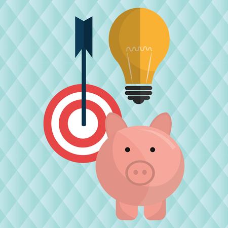 target money piggy cash vector illustration