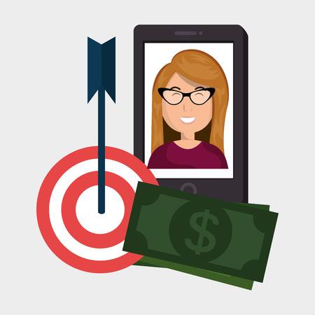 woman smartphone: woman smartphone target money bills vector illustration