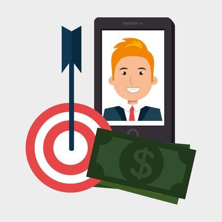 smartphone target money bills vector illustration