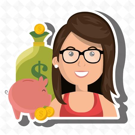 woman money cash coins vector illustration Illustration