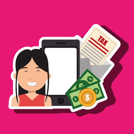 woman smartphone: woman smartphone tax money vector illustration