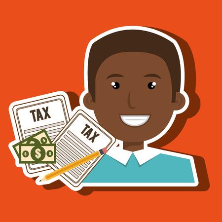 man taxes bills pencil vector illustration