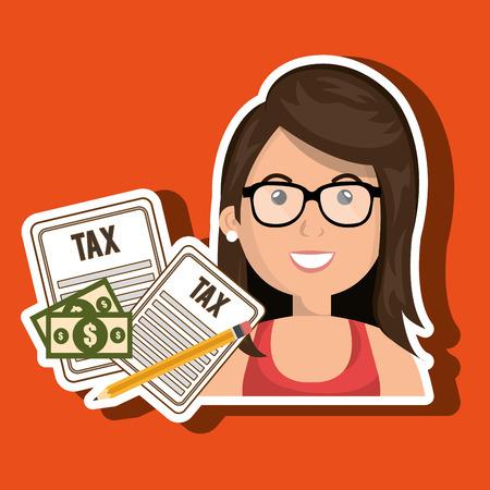 woman taxes bills pencil vector illustration Illustration