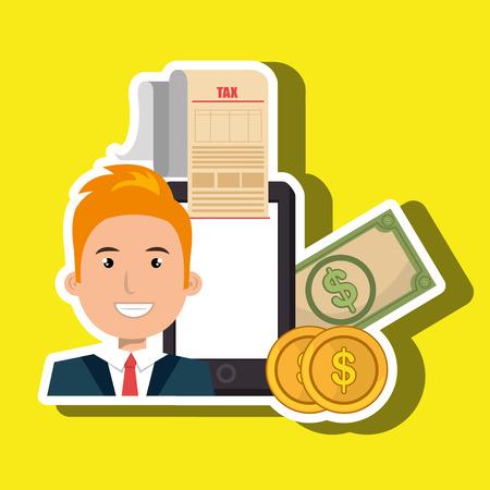 man smartphone taxes money vector illustration Illustration