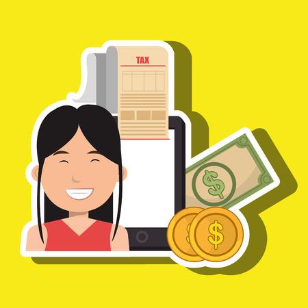 taxpayer: woman smartphone taxes money vector illustration Illustration
