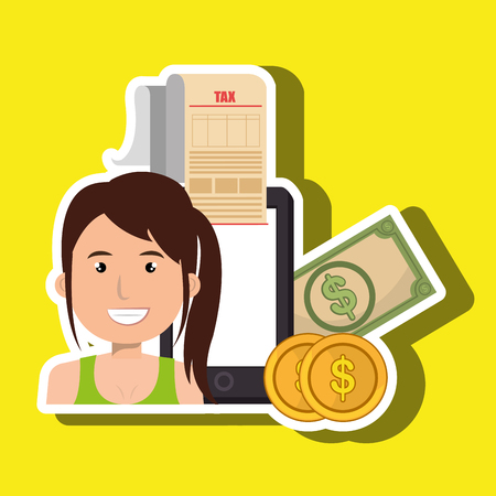 woman smartphone taxes money vector illustration Illustration