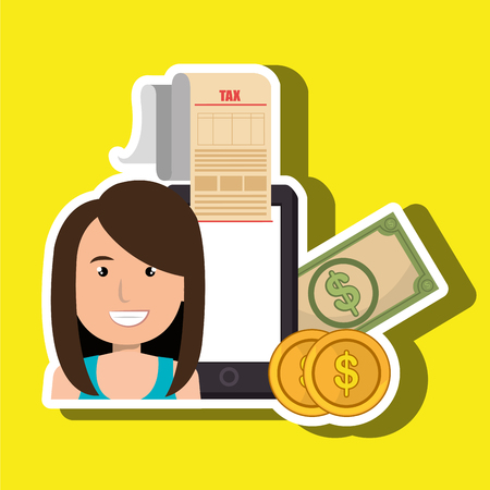 woman smartphone taxes money vector illustration Illustration
