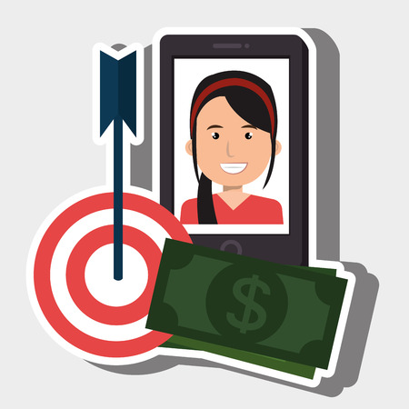woman smartphone target money bills vector illustration
