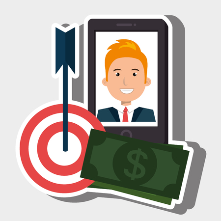 withdrawal: smartphone target money bills vector illustration