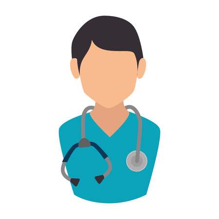 outpatient: man doctor stethoscope medical occupation work profession uniform vector illustration