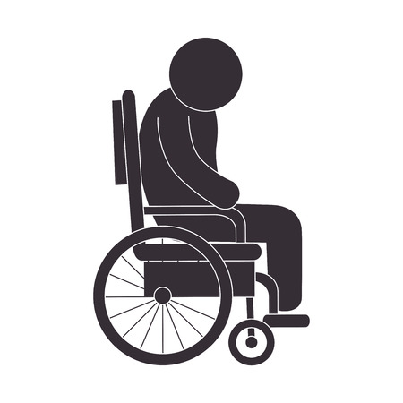 handicapped: handicapped wheelchair paraplegic invalid man human assistance vector illustration Illustration