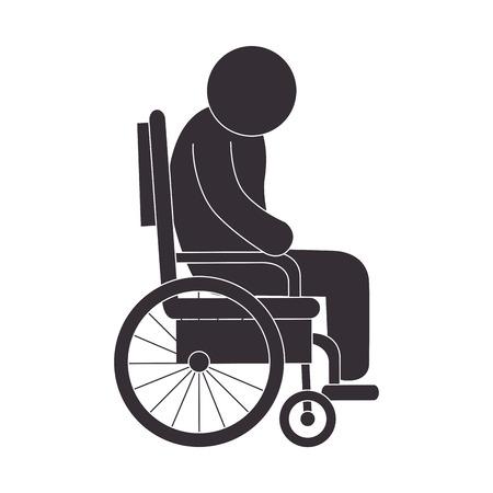 paraplegico: minusválidos parapléjico en silla de ruedas hombre inválido asistencia humana ilustración vectorial