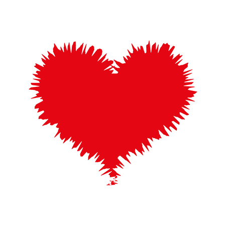 amour: heart love romance passion amour red sketch vector illustration Illustration