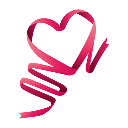 ribbon heart love pink romantic valentine vector illustration