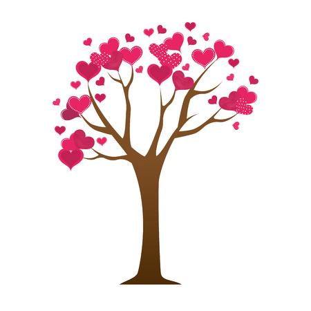 pink tree: heart love pink tree floral romance decoration vector illustration Illustration