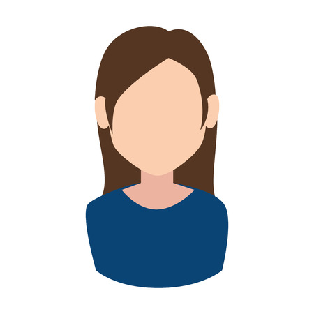 the human face: woman face girl female person blue tshirt human vector illustration