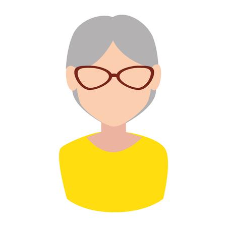 flushed: grandmother face old lady female glasses avatar vector illustration Illustration