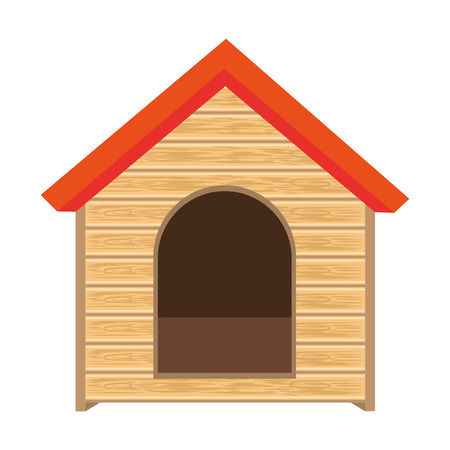 clip art feet: dog house of wood home pet animal canine vector illustration