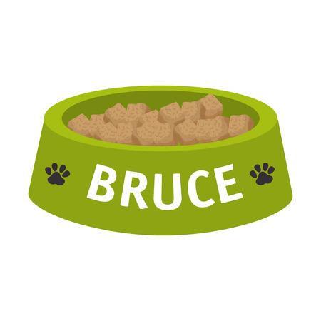 犬ペット皿プレート マスコット食品栄養要素ベクトル図