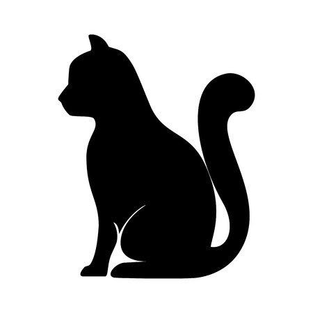 cat animal feline mascot pet domestic silhouette vector illustration Vektorové ilustrace