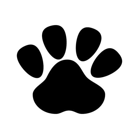 canine: dog foot footprint mark pet canine silhouette vector illustration Illustration