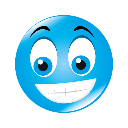 tease: emoticon face cartoon expression of feelings and emotions happiness smile vector illustration