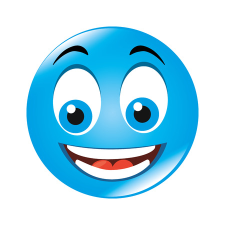hapiness: emoticon cartoon expression of feelings and emotions happiness smile vector illustration