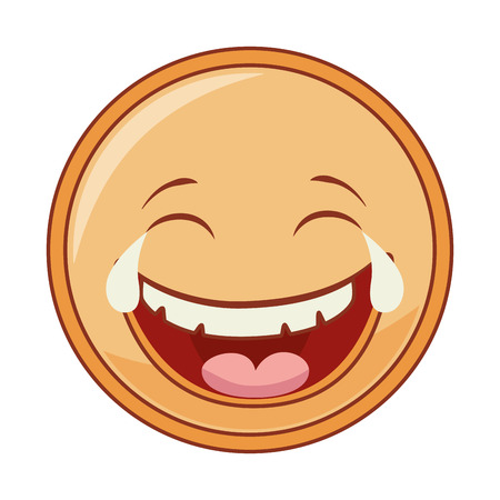 hapiness: emoticon cartoon expression of feelings and emotions laugh vector illustration