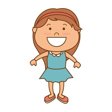 hapiness: little girl smiling smile hapiness kid child cute fun vector illustration Illustration