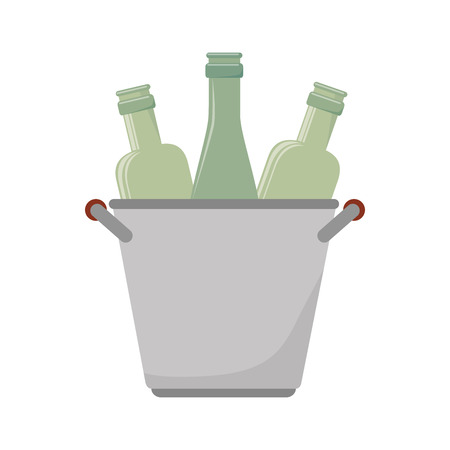 bucket wine bottle cold liquid drink vector illustration