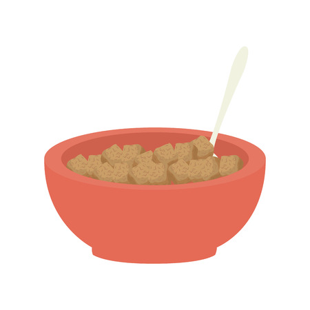 cereal bowl: cereal bowl dish spoon food breakfast aliment vector illustration