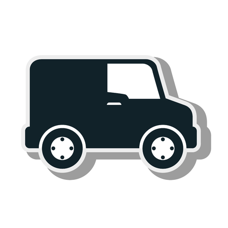 camion: van vehicle cargo delivery distribution service silhouette vector illustration