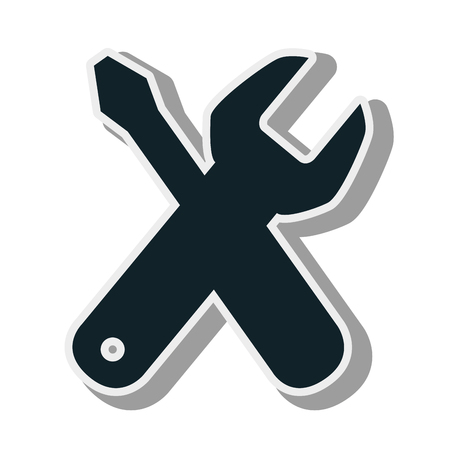 repair fix tools wrench and screwdriver cross vector illustration