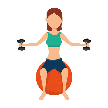 activity exercising: girl exercising and lifting weight training healthy fitness activity vector illustration Illustration
