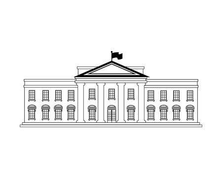 edificio de la casa blanca en Washington DC Estados Unidos de América EE.UU. ilustración vectorial